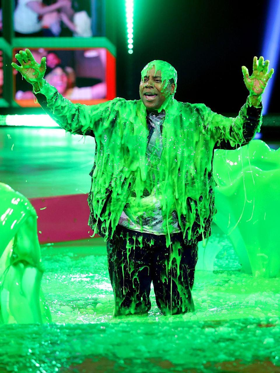 <p>Not only did Kenan Thompson get slimed, he was also forced to submerge himself in some sort of toxic green pit. </p>