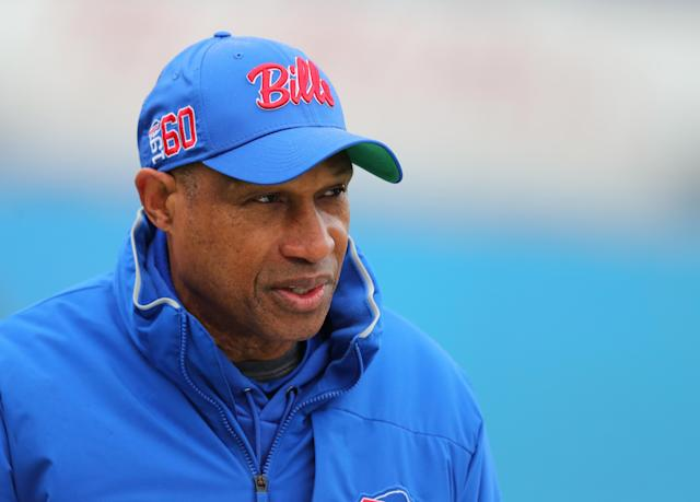 African American coaching colleagues wonder why Buffalo Bills defensive coordinator Leslie Frazier doesn't get attention as a head coaching candidate. (Timothy T Ludwig/Getty Images)