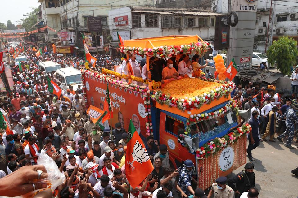 Uttar Pradesh Chief Minister Yogi Adityanath held a roadshow in supporte BJP Candidate North Howrah Assembly Umesh Rai on Saturday ,April 03,2021,Howrah,West Bengal. (Photo by Debajyoti Chakraborty/NurPhoto via Getty Images)