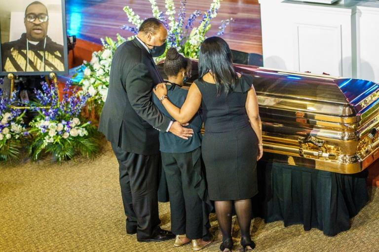Human rights activist Martin Luther King III and family pay their respects to the remains of George Floyd at a memorial service in Minneapolis (AFP Photo/kerem yucel)