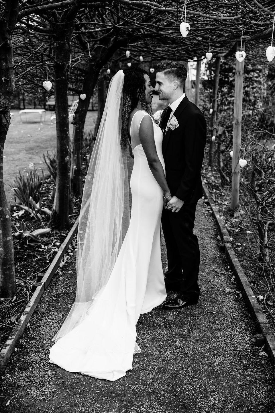 <p><strong>Wedding dress and veil:</strong> Blackburn Couture (Russell Blackburn)</p><p><strong>Shoes:</strong> Jimmy Choo</p><p><strong>Bracelets:</strong> Jenny Packham and Links of London</p>