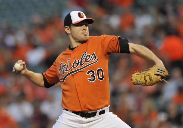 Baltimore Orioles starting pitcher Chris Tillman delivers against the Minnesota Twins in the first inning of a baseball game, Saturday, Aug. 30, 2014, in Baltimore.(AP Photo/Gail Burton)