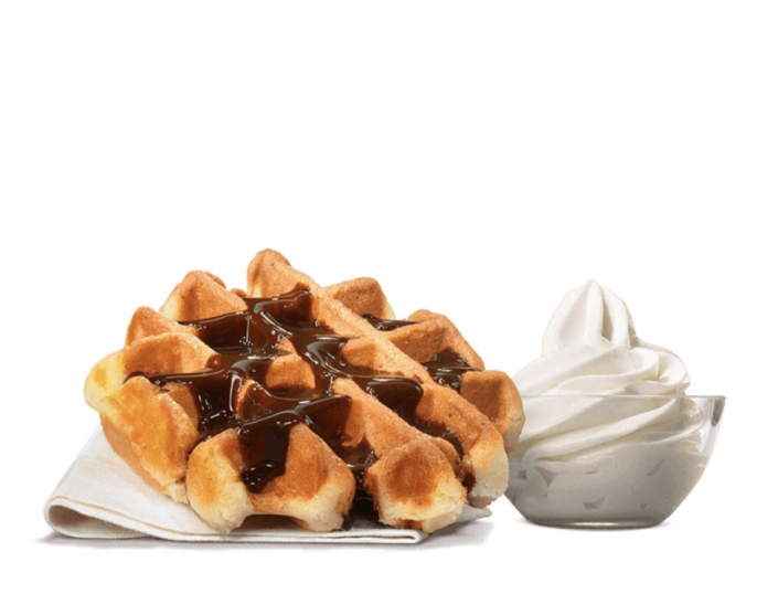 <p>While the U.S. considers a waffle to be breakfast food, most other countries categorize it for what it actually is—dessert. The light and fluffy Belgian Waffle at Burger King is accompanied by ice cream and it can be topped with either caramel or chocolate sauce.</p>
