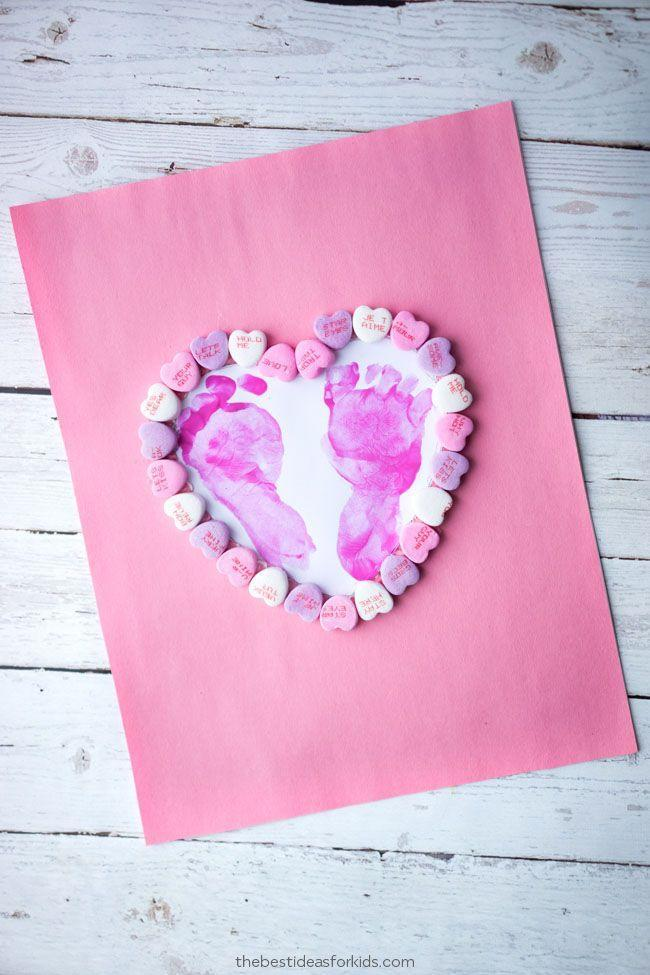 """<p>This craft is a precious way to memorialize baby's little feet. Paint them and press them onto white card stock to make the prints. Then mount the prints on construction paper and surround them with candy hearts for a sweet keepsake.</p><p><a href=""""https://www.thebestideasforkids.com/footprint-heart-craft/"""" rel=""""nofollow noopener"""" target=""""_blank"""" data-ylk=""""slk:Get the tutorial at The Best Ideas for Kids »"""" class=""""link rapid-noclick-resp""""><i>Get the tutorial at The Best Ideas for Kids </i><i>»</i></a></p>"""
