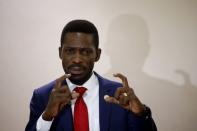 Ugandan opposition presidential candidate Robert Kyagulanyi, also known as Bobi Wine, speaks during a press conference with other opposition leaders in Kampala