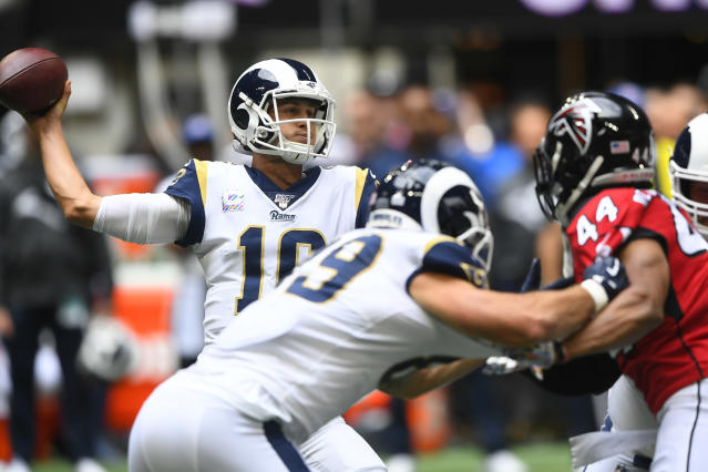 Los Angeles Rams quarterback Jared Goff (16) works in a bust pocket against the Atlanta Falcons during the first half of an NFL football game, Sunday, Oct. 20, 2019, in Atlanta. (AP Photo/John Amis)