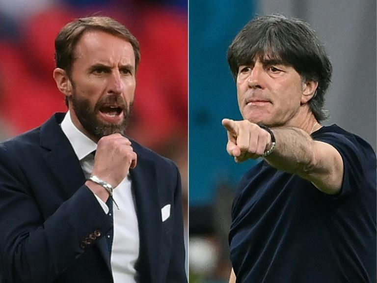 England manager Gareth Southgate (L) and Germany boss Joachim Loew