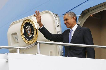 U.S. President Obama arrives aboard Air Force One at Bole International Airport in Addis Ababa