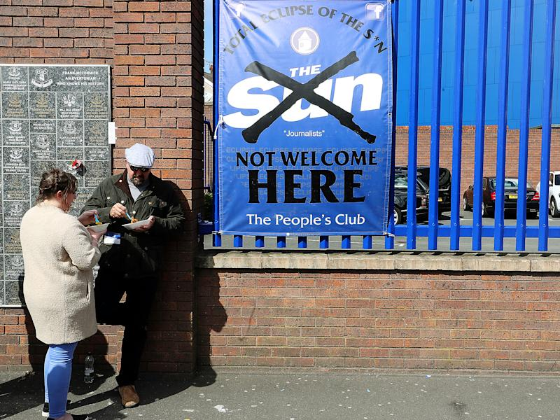 An anti-Sun sign outside Goodison Park, Everton's home ground: PA wire