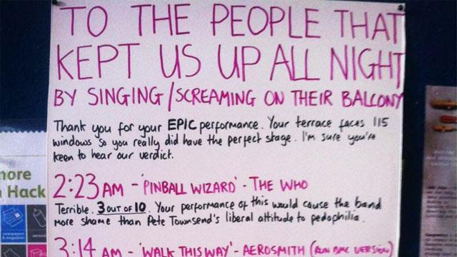 Londoner Responds to Neighbor's Karaoke With Scathing Critique