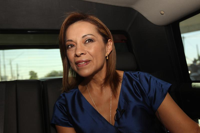 Josefina Vazquez Mota, presidential candidate for the National Action Party (PAN) speaks during an interview with The Associated Press inside a vehicle between campaign stops in Guadalajara, Mexico, Sunday April 15, 2012. On a campaign swing through the heart of her political stronghold, Vazquez Mota, the first serious female contender for Mexico's presidency, didn't fill a town square or even the tables of a business luncheon. (AP Photo/Bruno Gonzalez)