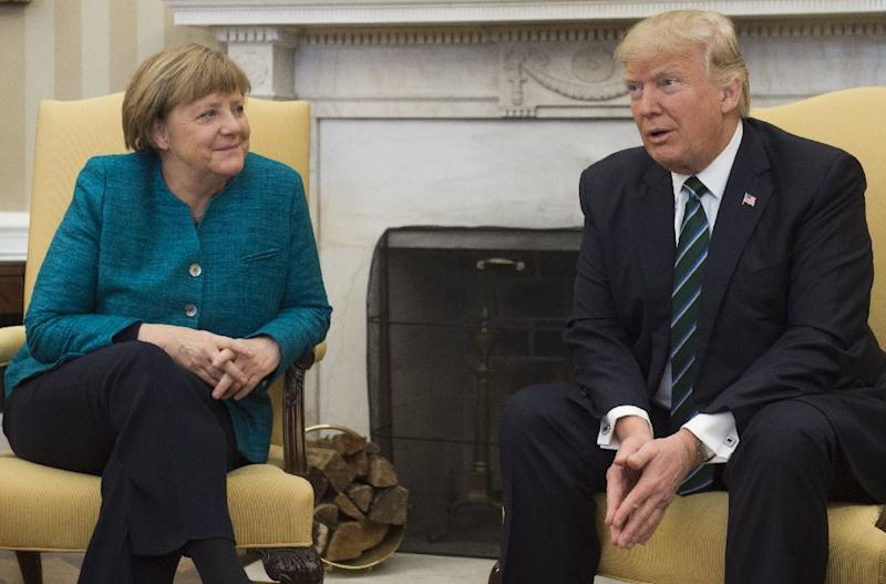 US President Donald Trump and German Chancellor Angela Merkel held talks at the White House in Washington DC, on March 17, 2017 (AFP Photo/SAUL LOEB)