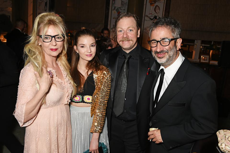 LONDON, ENGLAND - APRIL 09: (L to R) Morwenna Banks, Dolly Loveday, Rufus Hound and David Baddiel attend The Olivier Awards 2017 after party at Rosewood London on April 9, 2017 in London, England. (Photo by David M. Benett/Dave Benett/Getty Images)