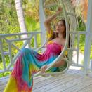 <p>The star was patiently waiting for the new year while lounging in a tie-dye dress.</p>
