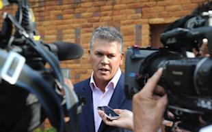 Peet van Zyl in 2013 after visiting Oscar Pistorius in jail. (AP)