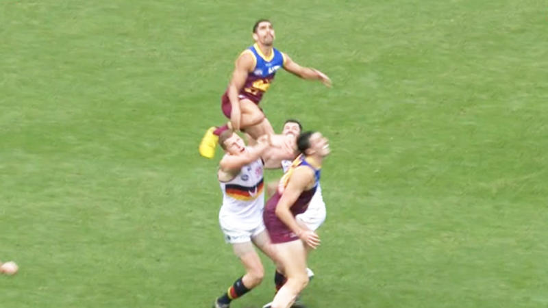 Charlie Cameron (pictured above) soaring above Crows ruckman Reilly O'Brien to take a Mark of the Year contender. (Image: Fox Footy)