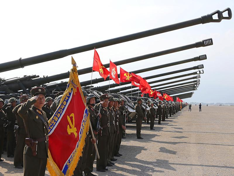 A military drill marking the 85th anniversary of the establishment of the Korean People's Army (KPA) is seen in this handout photo by North Korea's Korean Central News Agency (KCNA): KCNA/Handout via REUTERS