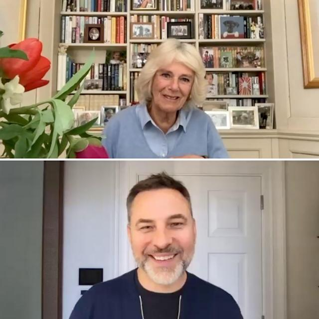 Camilla and David Walliams spoke on a video call about the essay competition. (Clarence House)