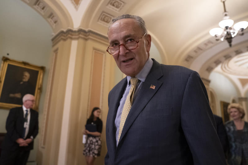 Senate Minority Leader Chuck Schumer, D-N.Y., arrives to speak to reporters at a news conference at the Capitol in Washington, Tuesday, Sept. 17, 2019. (AP Photo/J. Scott Applewhite)
