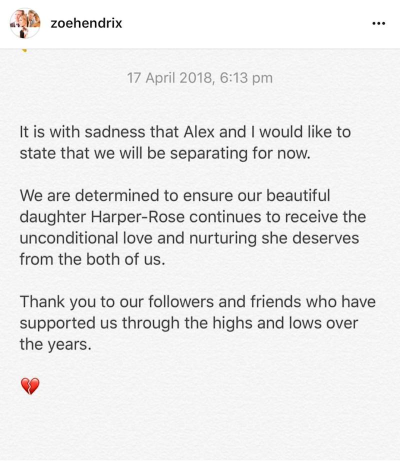 Zoe took to Instagram to announce the sad news she and Alex were splitting after three years together. Source: Instagram / zoehendrix
