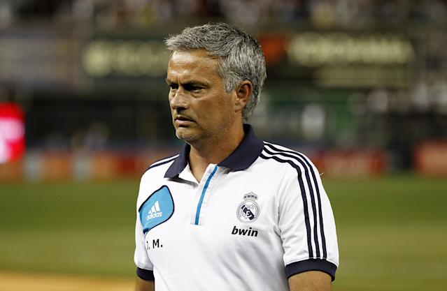 NEW YORK - AUGUST 08: Head coach Jose Mourinho of Real Madrid leaves the field after victory over A.C. Milan in their match at Yankee Stadium on August 8, 2012 in New York City. (Photo by Jeff Zelevansky/Getty Images)