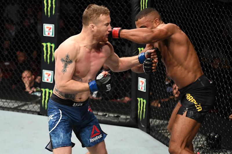 PHILADELPHIA, PA - MARCH 30: (L-R) Justin Gaethje punches Edson Barboza of Brazil in their lightweight bout during the UFC Fight Night event at Wells Fargo Center on March 30, 2019 in Philadelphia, Pennsylvania. (Photo by Josh Hedges/Zuffa LLC/Zuffa LLC via Getty Images)