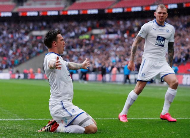 Soccer Football - National League Promotion Final - Tranmere Rovers v Boreham Wood - Wembley Stadium, London, Britain - May 12, 2018 Tranmere Rovers' Andy Cook celebrates scoring their first goal Action Images/Andrew Couldridge
