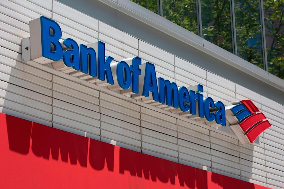 <p>The Bank of America logo is seen outside a branch in Washington, DC, on July 9, 2019</p> (Photo by ALASTAIR PIKE/AFP via Getty Images)