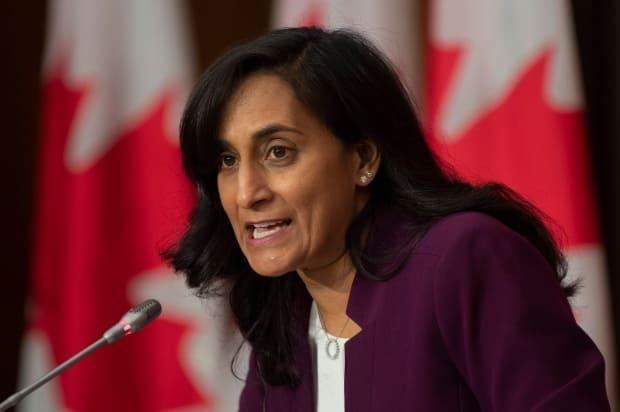 Public Services and Procurement Minister Anita Anand says Moderna hasn't contravened its COVID-19 vaccine contract with Canada, even though deliveries of the company's mRNA vaccine continue to experience delays.  (Adrian Wyld/The Canadian Press - image credit)