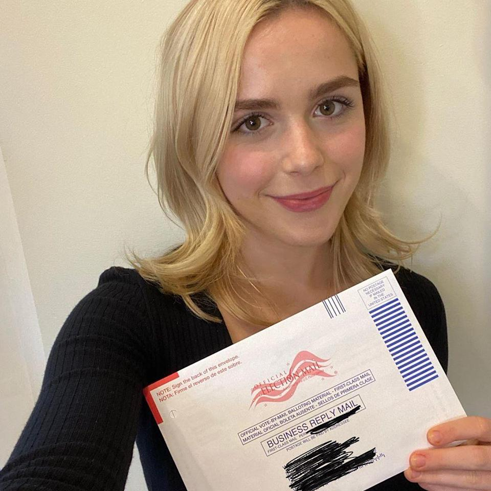"""<p>For the <em>Chilling Adventures of Sabrina </em>star, 20, voting in a presidential election for the first time <a href=""""https://www.instagram.com/p/CG3adqVAdU0/"""" rel=""""nofollow noopener"""" target=""""_blank"""" data-ylk=""""slk:was pure magic"""" class=""""link rapid-noclick-resp"""">was pure magic</a>. </p>"""