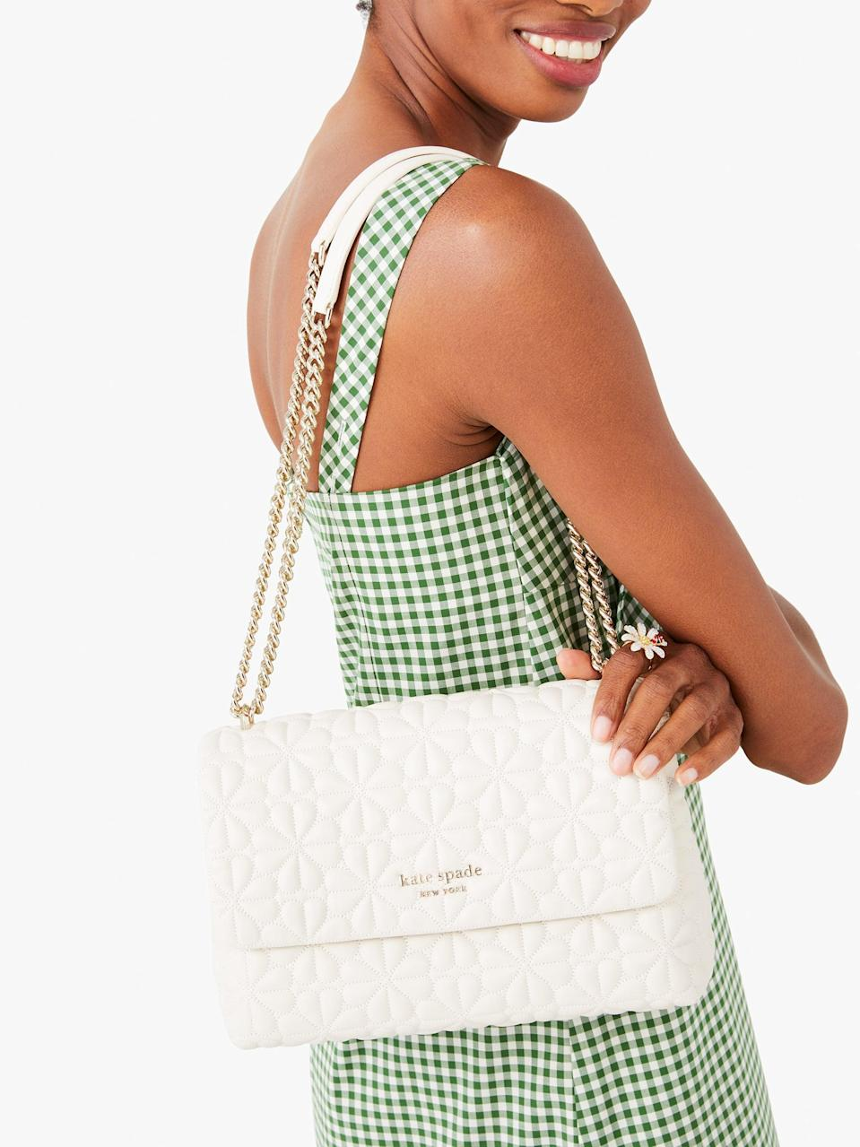 <p>This <span>Kate Spade New York Bloom Large Flap Shoulder Bag</span> ($398) is just one of many gorgeous new releases the brand has dropped this month, but this timeless piece is at the top of my wish list.</p>