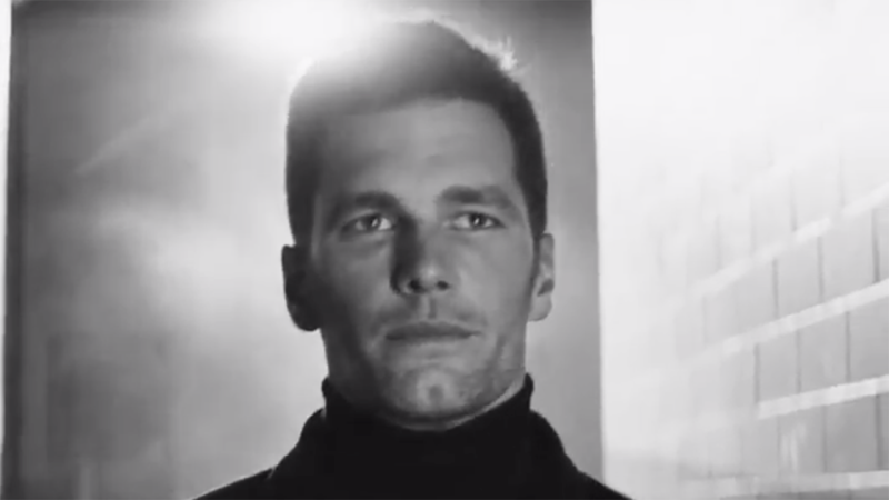Tom Brady, pictured during a Super Bowl commercial, used the spot to reveal he 'wasn't going anywhere' next NFL season.