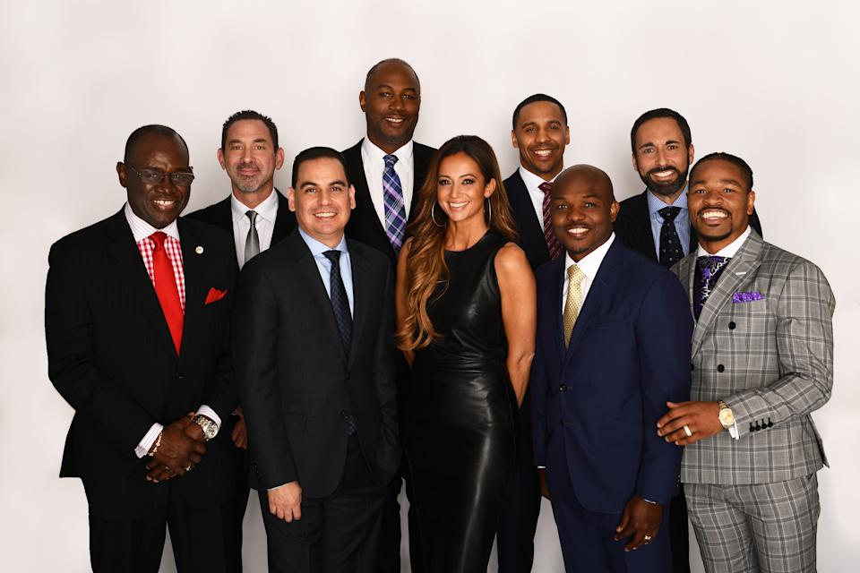 The crew which will do the announcing for the heavyweight title rematch between Deontay Wilder and Tyson Fury on Feb. 22 from Las Vegas. Front row, from left: Bernard Osuna, Kate Abdo, Timothy Bradley and Shawn Porte.r Back row, from left: Larry Hazzard Sr., Mark Kriegel, Lennox Lewis, Andre Ward and Joe Tessitore. (Kohjiro Kinno / ESPN Images)