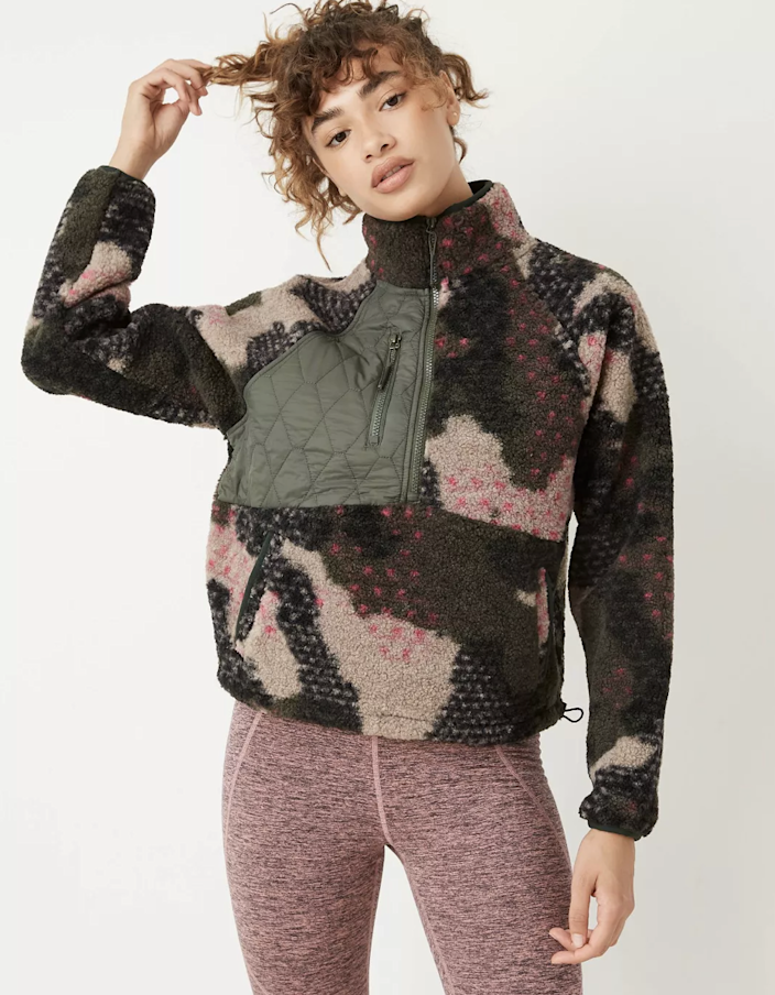 "Target has a selection of insanely cozy half-zips to add to cart now, including this fun camo print with a quilted chest panel. $40, Target. <a href=""https://www.target.com/p/women-39-s-1-2-zip-sherpa-pullover-sweatshirt-joylab-8482-camo-print-s/-/A-80122435"" rel=""nofollow noopener"" target=""_blank"" data-ylk=""slk:Get it now!"" class=""link rapid-noclick-resp"">Get it now!</a>"