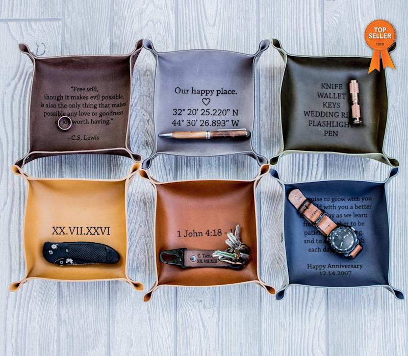 """Pick from a wide variety of leather colors and create your custom message.&nbsp;<a href=""""https://fave.co/2uK9Fnj"""" target=""""_blank"""" rel=""""noopener noreferrer"""">Find it for $30 on Etsy</a>."""
