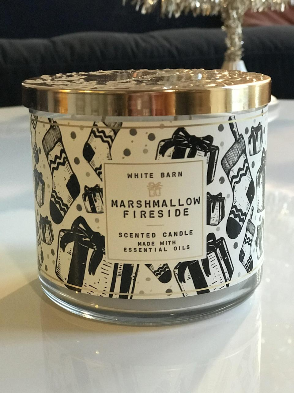 <p><span>Marshmallow Fireside 3-Wick Candle</span> ($15, originally $25)</p> <p><strong>What It Smells Like:</strong> Roasting s'mores while sitting on a log.</p>