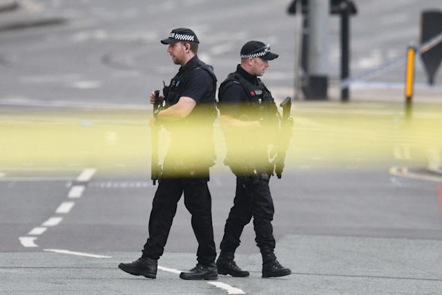 <p>Armed police patrol near Manchester Arena following a deadly terror attack in Manchester, northwest England on May 23, 2017. (Oli Scarff/AFP/Getty Images) </p>
