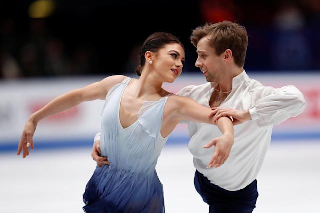 Figure Skating - World Figure Skating Championships - The Mediolanum Forum, Milan, Italy - March 24, 2018 Kaitlin Hawayek and Jean-Luc Baker of the U.S. during the Ice Dance Free Dance REUTERS/Alessandro Garofalo