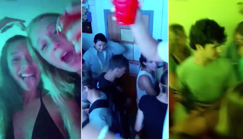 A video of the dorm party was caught on Snapchat before being posted online. Source: Reddit