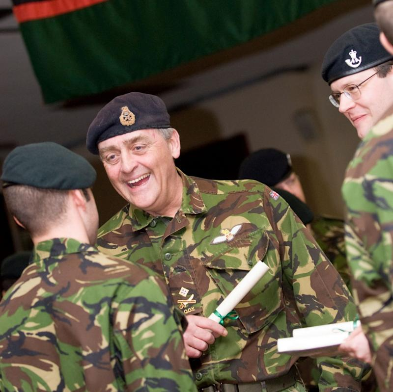 The late Duke of Westminster at a parade to dedicate a new regimental flag for the Rifles prior to his death last year