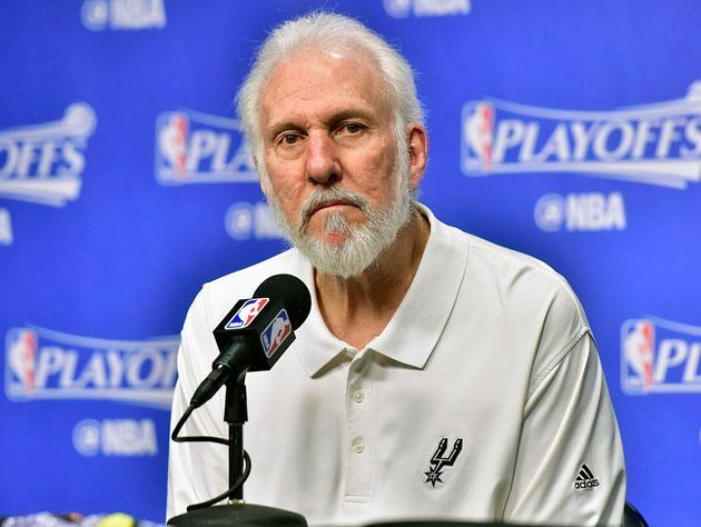 Gregg Popovich at the microphone. (Getty Images)