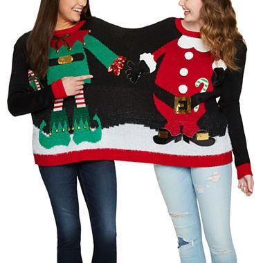 "Get this two person sweater <a href=""https://www.jcpenney.com/p/two-person-ugly-christmas-sweater-juniors/ppr5007283456?pTmplType=regular&catId=SearchResults&searchTerm=ugly+christmas+sweater&badge=new"" target=""_blank"">here</a>."