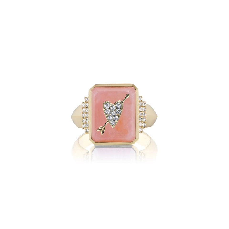 """<p><a class=""""link rapid-noclick-resp"""" href=""""https://sorellinanyc.com/products/talisman-signet-motif-ring?_pos=4&_sid=e5f8236bf&_ss=r"""" rel=""""nofollow noopener"""" target=""""_blank"""" data-ylk=""""slk:SHOP NOW"""">SHOP NOW</a></p><p>New York-based Sorellina's innovative signet ring can be customised with different coloured polished gemstones and decorative motifs wrought in white diamonds. </p><p>Gold, pink opal and diamond signet ring, £1,873, <a href=""""https://sorellinanyc.com"""" rel=""""nofollow noopener"""" target=""""_blank"""" data-ylk=""""slk:Sorellina"""" class=""""link rapid-noclick-resp"""">Sorellina</a>.</p>"""