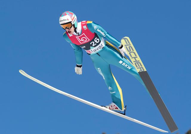 Ski Jumping - FIS World Cup - Men's HS240 Qualification - Vikersund, Norway - March 16, 2018 Gregor Deschwanden of Switzerland in action. Terje Bendiksby/NTB Scanpix/via REUTERS ATTENTION EDITORS - THIS IMAGE WAS PROVIDED BY A THIRD PARTY. NORWAY OUT.