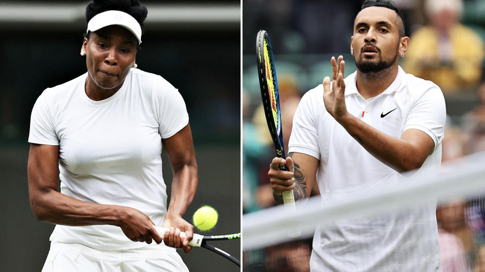 Venus Williams and Nick Kyrgios, pictured here in action in singles at Wimbledon.