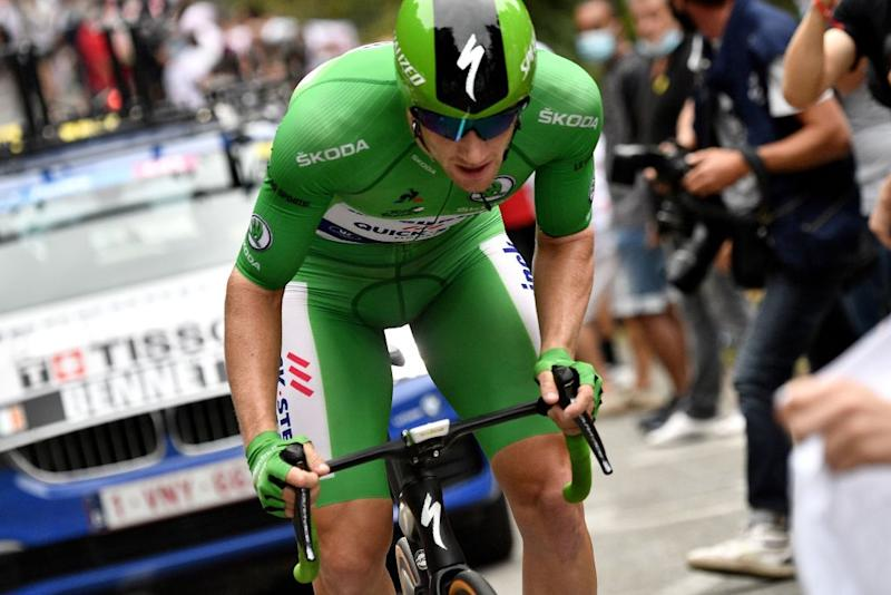 Team Deceuninck rider Irelands Sam Bennett wearing the best sprinters green jersey rides during the 20th stage of the 107th edition of the Tour de France cycling race a time trial of 36 km between Lure and La Planche des Belles Filles on September 19 2020 Photo by AnneChristine POUJOULAT AFP Photo by ANNECHRISTINE POUJOULATAFP via Getty Images