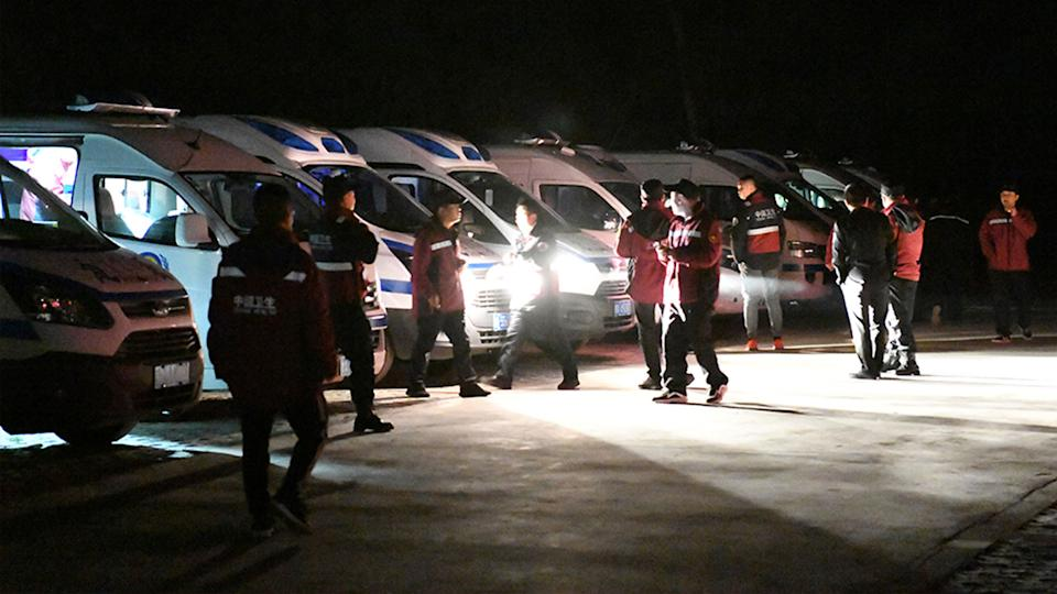 Rescuers at the scene in China.