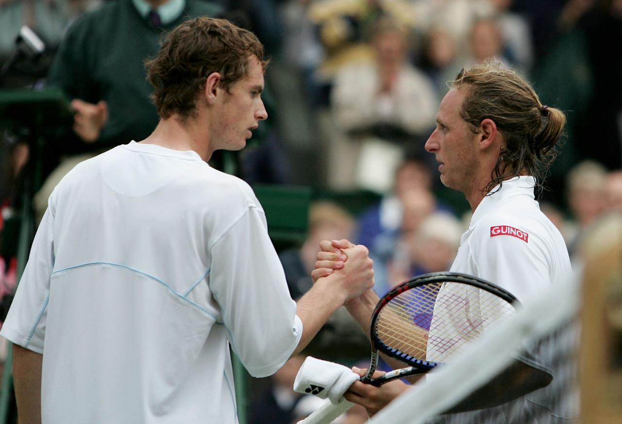 <p>Murray's first senior Wimbledon campaign ended in heartbreak in 2015 as he was forced to retire against 2002 finalist David Nalbandian, despite being two sets to love up. (Getty Images) </p>