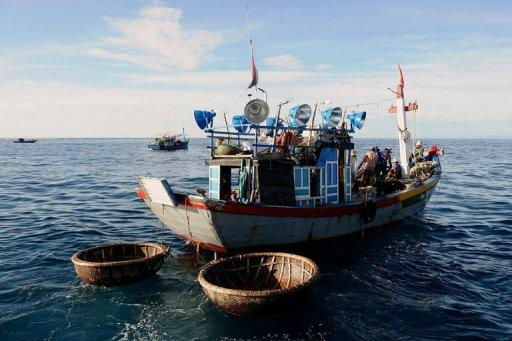 A fishing boat leaves Ly Son Island