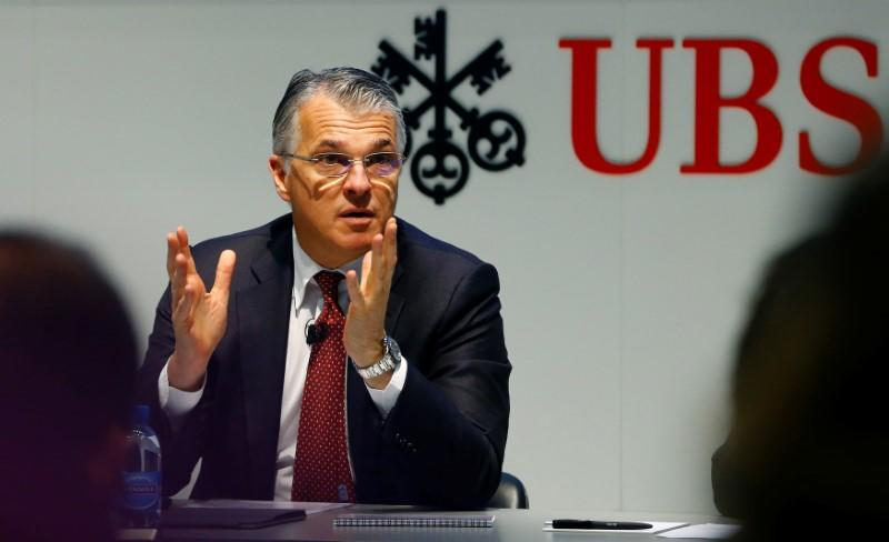 CEO Ermotti of Swiss bank UBS speaks at the annual news conference in Zurich
